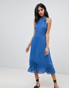 Read more about Warehouse frill detail halter maxi dress - blue