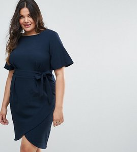 Read more about Closet london plus tie front dress with kimono sleeve - navy