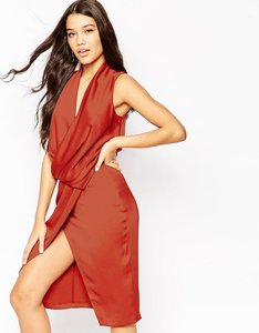 Read more about Asos extreme front cowl midi dress - rust