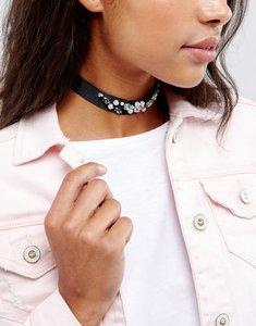 Read more about Johnny loves rosie statement embellished choker necklace - black gem
