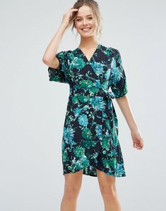 Read more about Closet london tropical print short sleeve skater dress - black