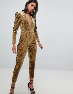 Read more about Sabina musayev crushed velvet jumpsuit - gold
