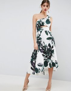 Read more about Asos palm print one shoulder scuba dip back prom dress - multi
