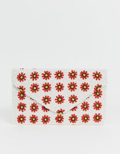 Read more about Clutch me by q hand beaded daisy clutch - white red