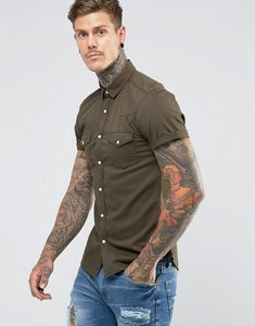 Read more about Asos skinny denim western shirt in khaki - khaki