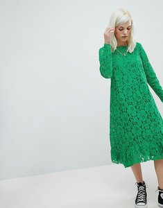 Read more about Asos lace midi swing dress - green