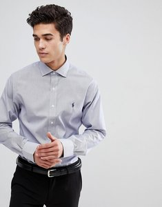 Read more about Polo ralph lauren slim fit fine stripe smart shirt spread collar polo player in blue - white navy