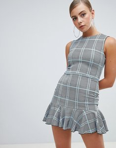 Read more about Missguided peplum hem mini dress in check - grey