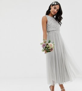 Read more about Maya bridesmaid sleeveless midaxi tulle dress with tonal delicate sequin overlay in soft grey