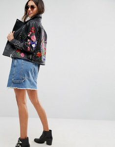 Read more about Asos premium leather biker jacket with floral embroidery and stud detail - black
