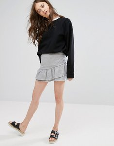 Read more about Pull bear frill detail skirt in jersey - grey