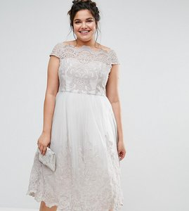 Read more about Chi chi london plus premium lace cap sleeve dress with tulle skirt - grey