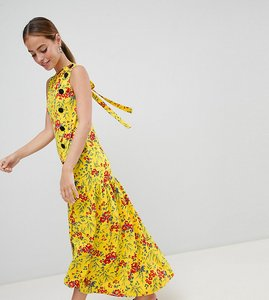 ab1557c6b7645 Read more about Asos design petite maxi tea dress with dropped hem and contrast  buttons in