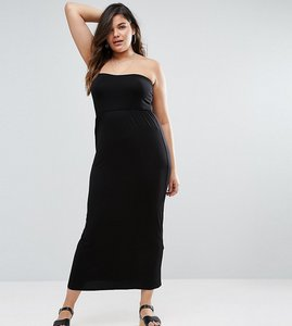 Read more about Asos curve bandeau maxi dress - black