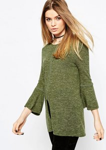 Read more about Asos jumper with flared sleeve in linen yarn - olive