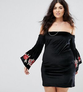 Read more about Club l plus bardot embroidery sleeve detail dress - black