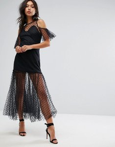 Read more about Prettylittlething lace cold shoulder maxi dress - black