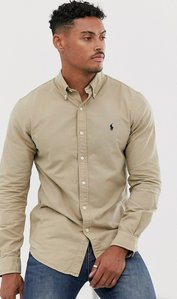 Read more about Polo ralph lauren slim fit shirt in tan garment dye with player logo