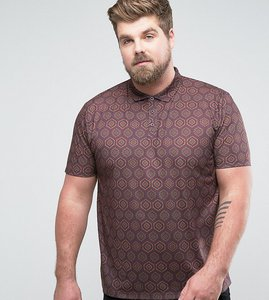 Read more about Asos plus polo shirt in all over retro print - burgundy