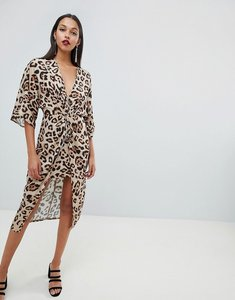 Read more about Asos design satin kimono midi dress in leopard print - animal print