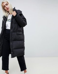 Read more about Moss copenhagen oversized longline padded jacket with hood - black