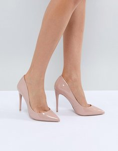 Read more about Aldo heeled court shoe - nude