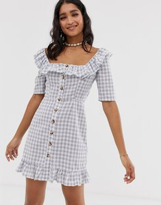 Read more about Asos design square neck gingham mini dress with button through and pephem