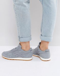 Read more about Reebok classic leather faux exotic trainers in grey - grey
