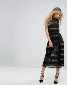 Read more about Foxiedox lace insert midi dress with high neck - black
