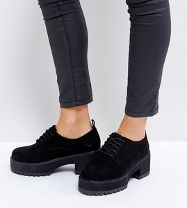 Read more about Asos omega wide fit chunky lace up heels - black