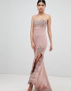 Read more about Love triangle lace trim bandeau maxi dress with thigh split - dusty mauve