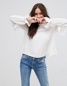 Read more about Asos high neck ruffle sleeve blouse - ivory