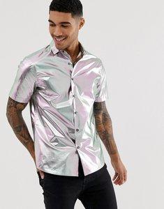 7922df25b Read more about Asos design festival regular fit revere collar metallic  shirt