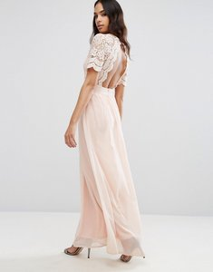 Read more about Club l maxi dress with crochet lace detail cut out back - nude pink