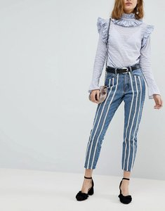 Read more about Lost ink raw hem slim mom jeans with pearl trims - light denim