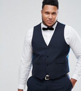 Read more about Harry brown plus plain black slim fit tuxedo waistcoat - navy