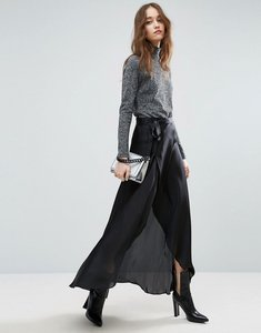Read more about Asos maxi wrap skirt in satin - black