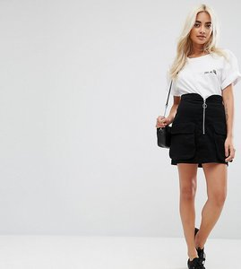 Read more about Asos petite mini skirt with zip and pockets - black