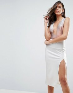 Read more about Asos deep plunge ombre sparkle bodycon midi dress - white rose gold