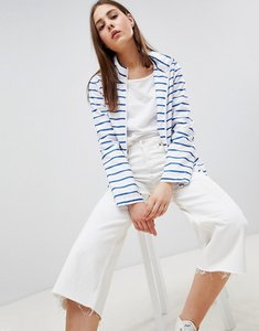 Read more about Brave soul rave rain mac in stripe - white with blue