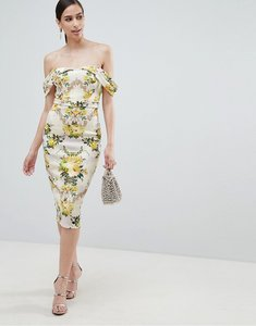 Read more about Asos design floral bardot cold shoulder bodycon dress - multi