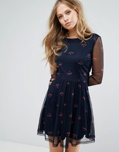 Read more about Vero moda printed skater dress - navy