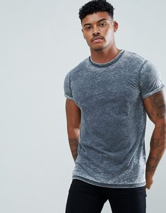 Read more about Asos t-shirt with extreme burnout and roll sleeve in grey - grey