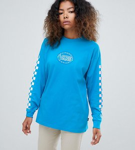 Read more about Vans exclusive blue archive checkerboard long sleeve t-shirt - blue