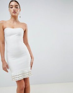 Read more about Missguided tassle hem bandage dress - white