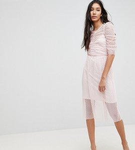 Read more about Asos tall ruched midi dress in spot mesh - blush