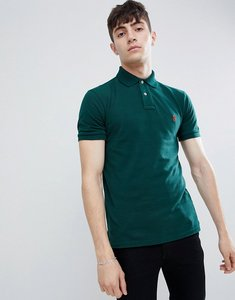 Read more about Polo ralph lauren slim fit pique polo player logo in dark green - college green
