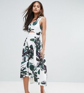 Read more about Asos tall palm print one shoulder scuba dip back prom dress - multi