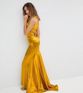 Read more about Jarlo tall high neck fishtail maxi dress with strappy open back detail - rich ochre