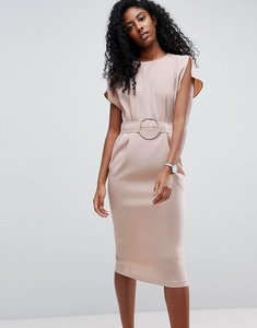 Read more about Asos split cap sleeve midi dress with circle belt - champagne